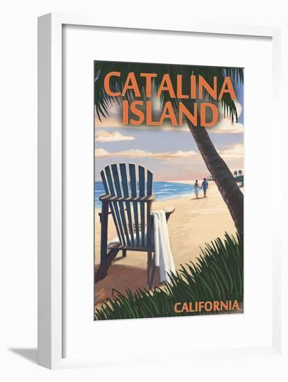 Catalina Island, California - Adirondack Chairs and Sunset-Lantern Press-Framed Art Print