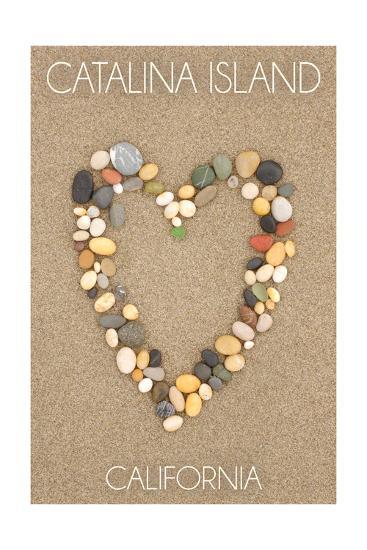 Catalina Island, California - Stone Heart on Sand-Lantern Press-Art Print