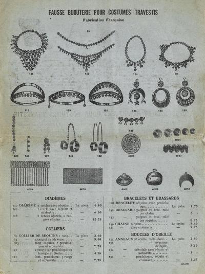 Catalog 1929-1930, Fake Costume Jewelry Transvestites--Giclee Print