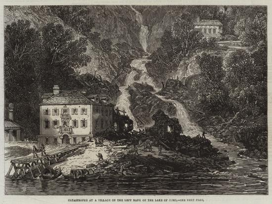 Catastrophe at a Village on the Left Bank of the Lake of Como--Giclee Print