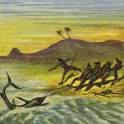 Catching a Shark-Ernest Henry Griset-Giclee Print
