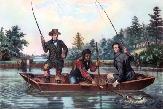 Catching a Trout, 1854-Currier & Ives-Giclee Print