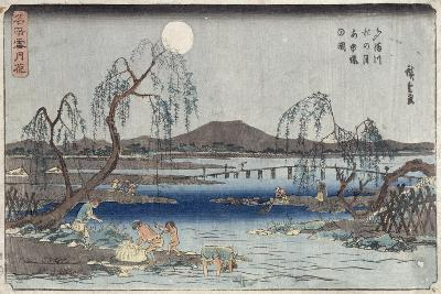 Catching Fish by Moonlight on the Tama River, from a Series 'snow, Moon and Flowers' ('settsu…-Ando Hiroshige-Giclee Print