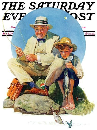 """""""Catching the Big One"""" Saturday Evening Post Cover, August 3,1929-Norman Rockwell-Giclee Print"""