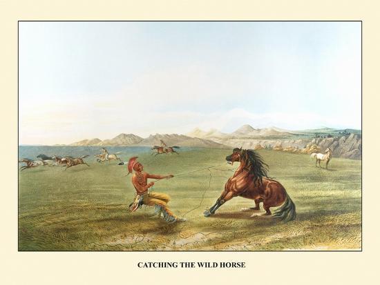 Catching The Wild Horse-George Catlin-Art Print