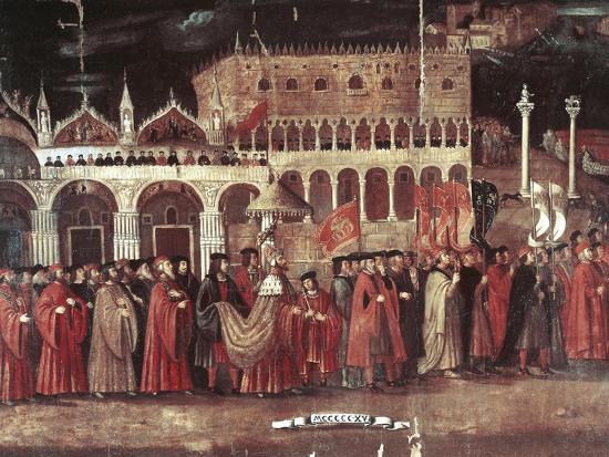 Caterina Cornaro Procession in Piazza San Marco, Venice, Italy, 1489--Giclee Print