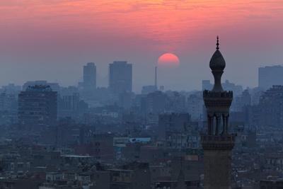 Egypt, Cairo, Al Azhar Park, Sultan Hasan Mosque, Back Light