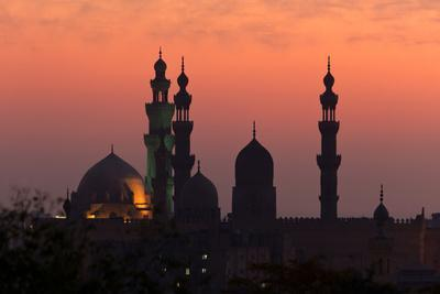 Egypt, Cairo, Mosque-Madrassa of Sultan Hassan in Backlight