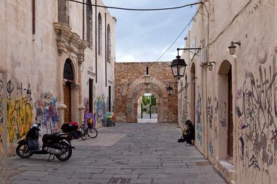Greece, Crete, Rethimnon, Lane with Graffiti
