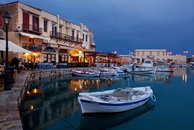 Greece, Crete, Rethimnon, Venetian Harbour, Illuminated, in the Evening by Catharina Lux