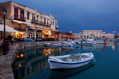 Greece, Crete, Rethimnon, Venetian Harbour, Illuminated, in the Evening