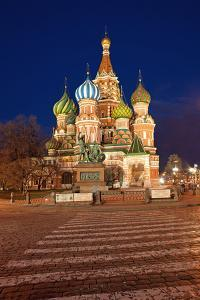 Moscow, Red Square, Saint Basil's Cathedral, by Night by Catharina Lux