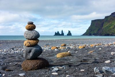 On the Beach of Vik, in the Background the Rock Needles Reynisdrangar
