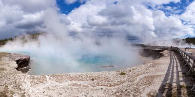 Panorama, USA, Yellowstone National Park, Excelsior Geyser