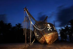 The Seychelles, La Digue, Union Estate, Old Shipyard, Pirate Ship, Evening by Catharina Lux