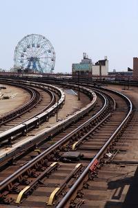 USA, New York City, Manhattan, Coney Island, Tracks, Ferris Wheel, Fun Fair by Catharina Lux
