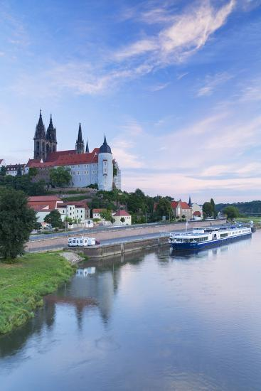 Cathedral, Albrechtsburg and River Elbe, Meissen, Saxony, Germany-Ian Trower-Photographic Print