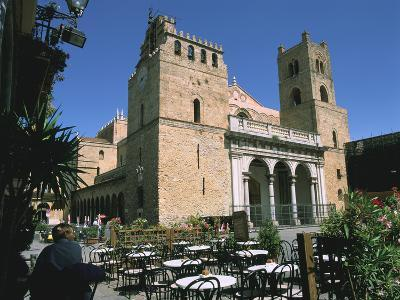 Cathedral and Cafe, Monreale, Sicily, Italy-Peter Thompson-Photographic Print