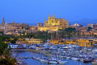 Cathedral and Harbour, Palma, Mallorca, Spain, Europe-Neil Farrin-Photographic Print