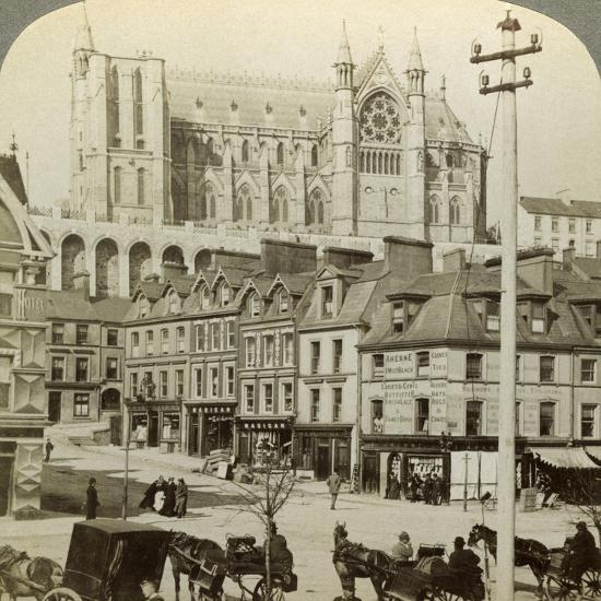 Cathedral and Main Street, Queenstown, Ireland, C Late 19th Century-Underwood & Underwood-Photographic Print