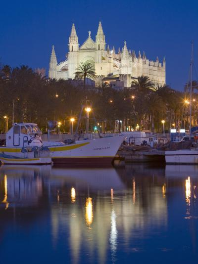 Cathedral and Port, Palma, Majorca, Balearic Islands, Spain, Mediterranean, Europe-Marco Cristofori-Photographic Print