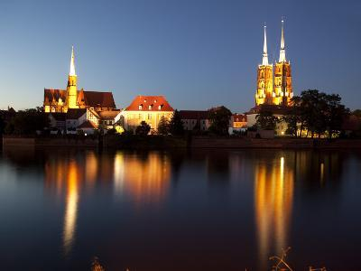 Cathedral and River Odra (River Oder), Old Town, Wroclaw, Silesia, Poland, Europe-Frank Fell-Photographic Print