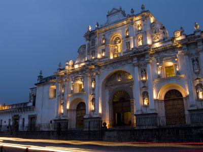 Cathedral in Square, Antigua, Guatemala-Bill Bachmann-Photographic Print