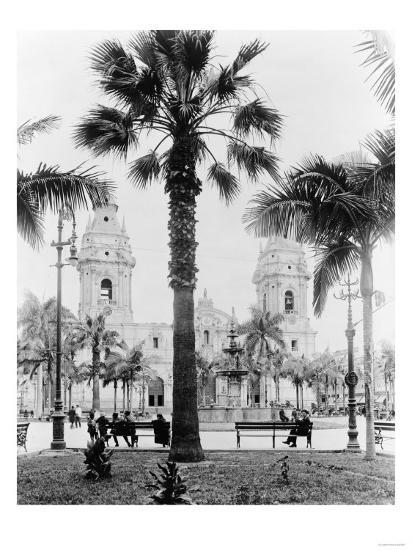 Cathedral in the Plaza de Armas in Peru Photograph - Lima, Peru-Lantern Press-Art Print