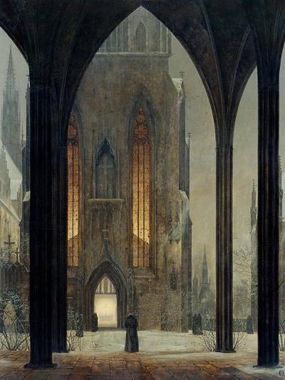 Cathedral in Winter, 1821-Ernst Ferdinand Oehme-Giclee Print