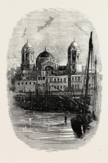 Cathedral of Cadiz, from the Harbour, Spain--Giclee Print