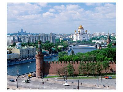 Cathedral of Christ the Saviour and Kremlin Wall, Moscow, Russia--Art Print