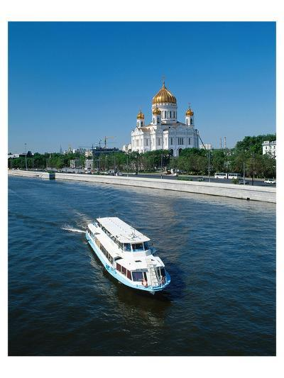 Cathedral of Christ the Saviour on the bank of Moskva River, Moscow, Russia--Art Print