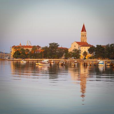 Cathedral of St. Lawrence Illuminated at Sunrise, Stari Grad (Old Town), Trogir, Dalmatia, Croatia-Doug Pearson-Photographic Print