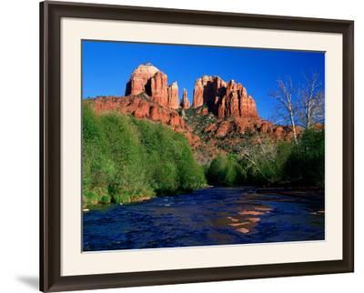 Cathedral Rock Above Oak Creek at Red River Crossing, Sedona, Arizona-David Tomlinson-Framed Photographic Print