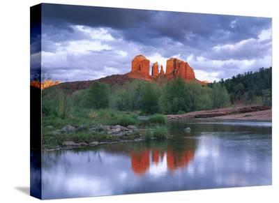Cathedral Rock reflected in Oak Creek at Red Rock Crossing, near Sedona, Arizona-Tim Fitzharris-Stretched Canvas Print