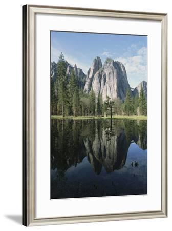 Cathedral Rocks and Reflection on the Surface of Still Water-Marc Moritsch-Framed Photographic Print