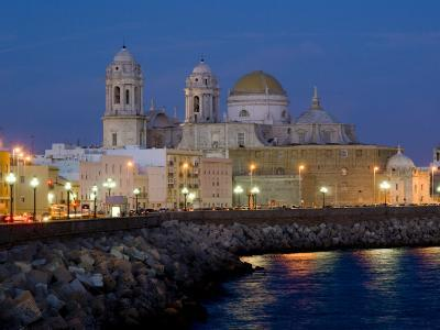 Cathedral Waterfront Dusk, Cadiz, Andalucia, Spain, Europe-Charles Bowman-Photographic Print