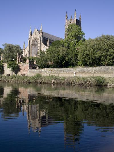 Cathedral West Side and River Severn, Worcester, Worcestershire, England, United Kingdom, Europe-Julian Pottage-Photographic Print