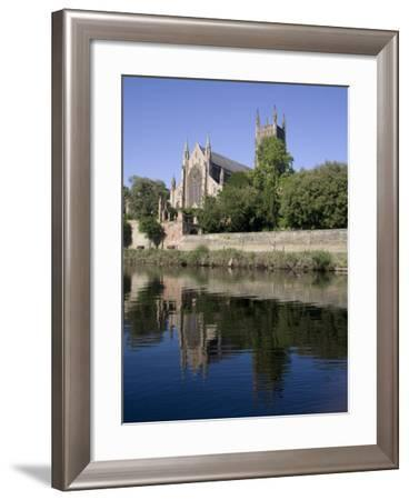 Cathedral West Side and River Severn, Worcester, Worcestershire, England, United Kingdom, Europe-Julian Pottage-Framed Photographic Print