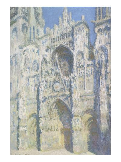 Cathédrale de Rouen, le portail et la tour Saint Romain, plein soleil, harmonie bleue et or-Claude Monet-Giclee Print