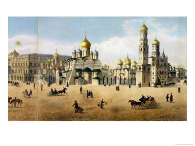 Cathedrals of the Annunciation and the Archangel, from a Panorama of Moscow-Dmitri Indieitzeff-Giclee Print