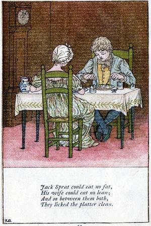 Illustration for Jack Sprat Could Eat No Fat, Kate Greenaway (1846-190)