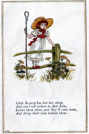 Illustration for Little Bo-Peep Has Lost Her Sheep, Kate Greenaway