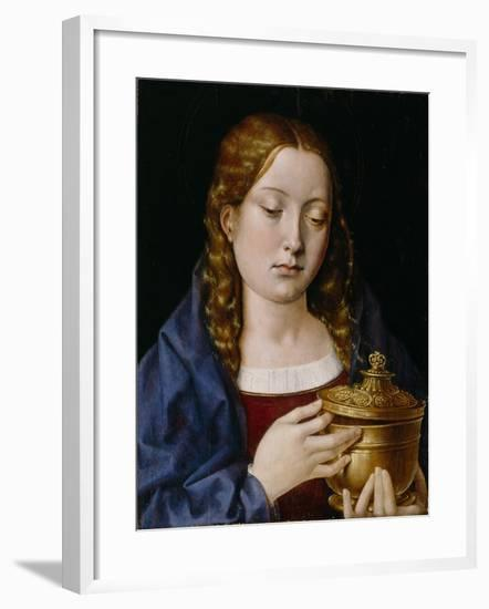 Catherine of Aragon as the Magdalene (Oil on Oak Panel)-Michiel Sittow-Framed Giclee Print