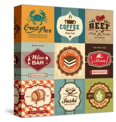 Set Of Vintage Retro Labels For Food, Coffee, Seafood, Bakery, Restaurant Cafe And Bar