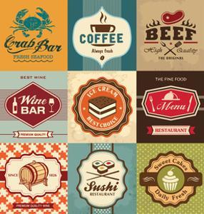 Set Of Vintage Retro Labels For Food, Coffee, Seafood, Bakery, Restaurant Cafe And Bar by Catherinecml