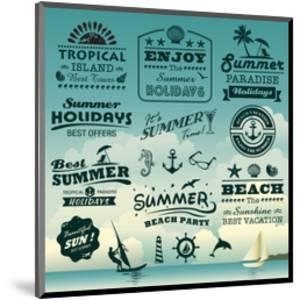 Vintage Summer Typography Design With Labels, Icons Elements Collection by Catherinecml