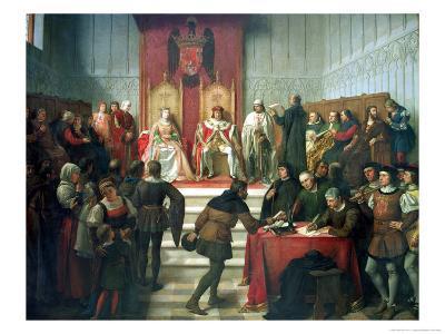 Catholic Rulers Administering Justice, 1860-Victor Manzano Y Mejorada-Giclee Print
