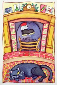 Santa Arriving Down the Chimney by Cathy Baxter