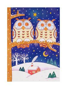 Two Owls on a Branch by Cathy Baxter